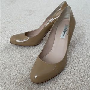 Like new patent leather nude heels by LK Bennett